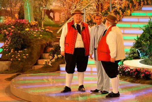 Stock Photo: 1848-267155 The Wildecker Herzbuben and host Florian Silbereisen during the Fruehlingsfest der Volksmusik or Spring Folk Music Festival, Erdgas_Arena, Riesa, Saxony, Germany, Europe