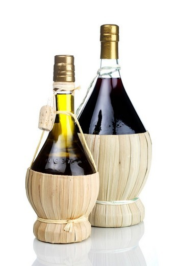 Red wine and olive oil : Stock Photo