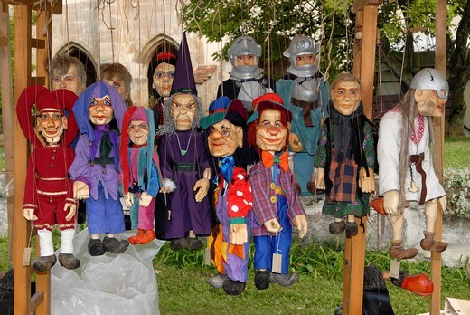Puppet´s for sale at the historical Staufer market in the Lorch Monastery, Baden_Wuerttemberg, Germany, Europe : Stock Photo