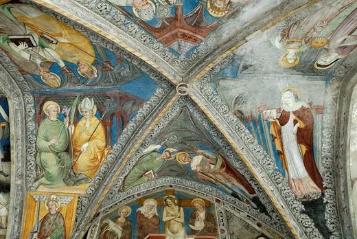 Frescos in the cloister of the Brixen Cathedral, Bressanone, Bolzano_Bozen, Alto Adige, Italy, Europe : Stock Photo