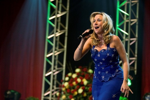 Stock Photo: 1848-267788 Swiss folk and schlager singer Diana performing live at the 9th Schlager Nacht at Festhalle Allmend concert hall, Lucerne, Switzerland