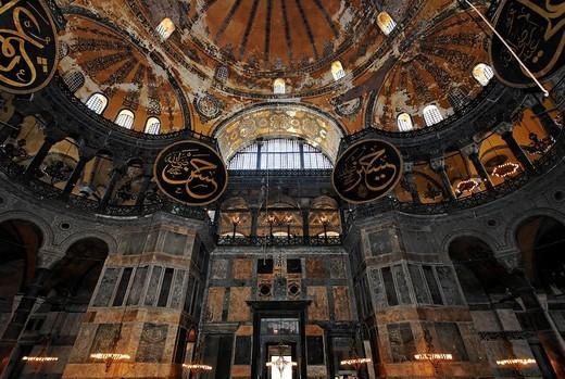 Hagia Sophia, Aya Sofya, view into the dome, Sultanahmet, Istanbul, Turkey : Stock Photo