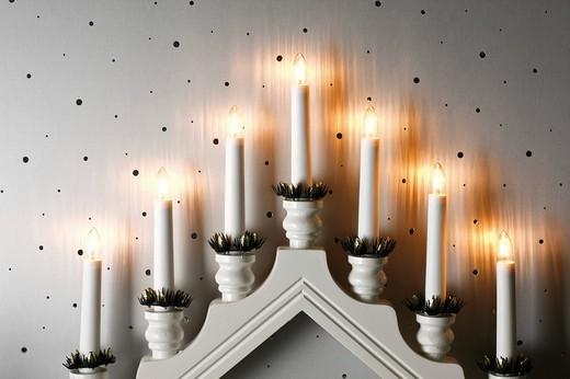 Candleholder for windowsill, window pyramid : Stock Photo