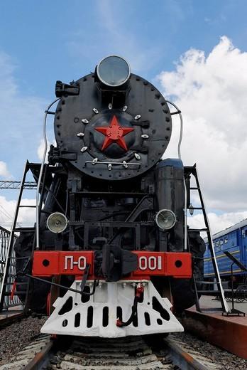 Soviet steam locomotive P_0001 Pobeda Victory, built in 1945 : Stock Photo