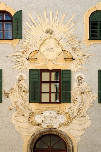 Stock Photo: 1848-268299 Christian relief on the parish office at Heilig Kreuz, Church of the Holy Cross, in Giesing, Gietlstrasse 2, Giesing, Munich, Bavaria, Germany, Europe