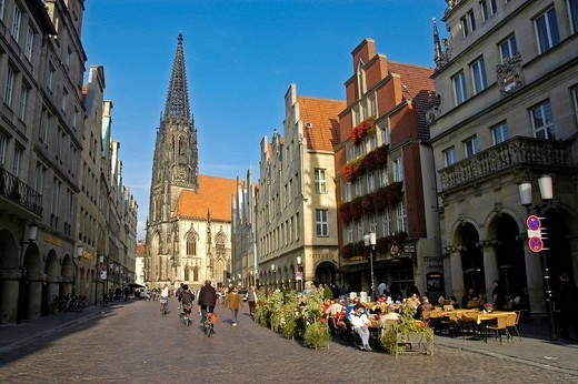 St. Lamberti Church and Prinzipal Market Prinzipalmarkt, Muenster, North Rhine_Westphalia, Germany : Stock Photo