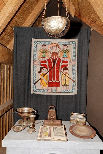 Reconstruction of a small wooden chapel in the museum of Clonmacnoise, Offaly, Ireland : Stock Photo