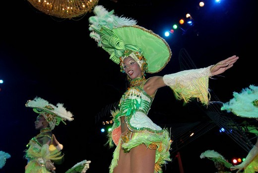 Young woman performing at a dance show, Tropicana nightclub in Havana, Cuba : Stock Photo