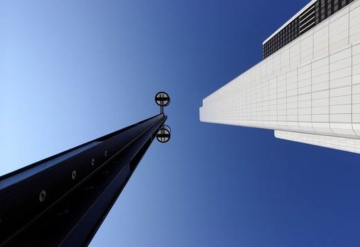 Street lamp and skyscraper, Frankfurt, Hesse, Germany, Europe : Stock Photo