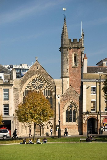 Stock Photo: 1848-26925 Church, people on a lawn, Park Street, College Green, Bristol, England, Great Britain, Europe