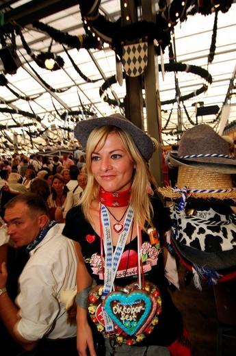 Hat vendor, Wies´n, October fest, Munich, Bavaria, Germany, Europe : Stock Photo