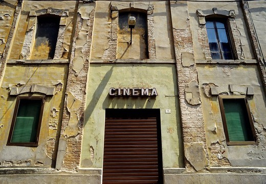 Stock Photo: 1848-269564 Closed movie theatre entrance in a ruinous house, Busseto, province of Parma, Emilia_Romagna, Italy, Europe