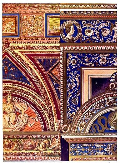 Painted stucco, modern times, Italian ornament : Stock Photo