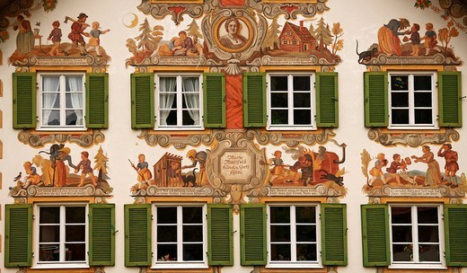 Lueftl Malerei, traditional mural painting on the side of Hansel und Gretel house, Oberammergau, Upper Bavaria, Germany, Europe : Stock Photo