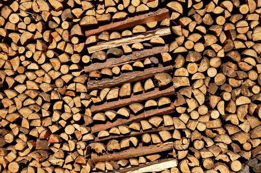 Piled up fire wood, Buch, Nuremberg, Franconia, Bavaria, Germany, : Stock Photo