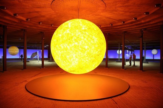 Three_dimensional representation of the Sun, Out of this World – Wonders of the Solar System, exhibition in the Gasometer, a former gas tank, Oberhausen, Ruhr Area, North Rhine_Westphalia, Germany, Europe : Stock Photo