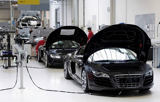 Stock Photo: 1848-269930 Audi employees doing final inspections of the Audi R8 sports car at the finish line in the Audi R8 assembly hall, Baden_Wuerttemberg, Germany, Europe
