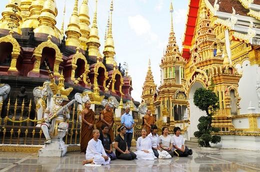 Visitors in the Wat Phrathat Suthonamongkhonkhiri Temple, Tambon, District Denchai, Thailand, Asia : Stock Photo