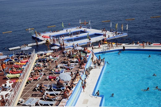 Swimming pool and sea, Funchal Lido, Madeira, Portugal : Stock Photo