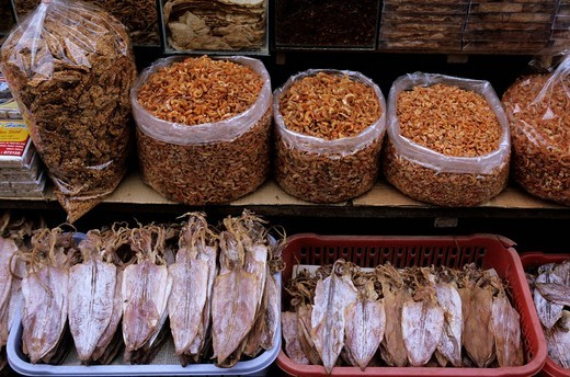 Stock Photo: 1848-270928 Dried seafood sold at Cho Dam, central marketplace in Nha Trang, Khánh Hòa Province, South Central Coast, Vietnam, Asia