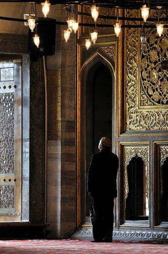 Religious man praying, Sultan Ahmed Mosque, Blue Mosque, Istanbul, Turkey : Stock Photo