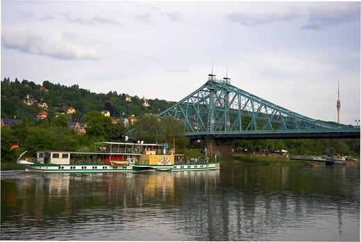 Blaues Wunder, Blue Wonder, bridge, Dresden, Saxony, Germany, Europe : Stock Photo