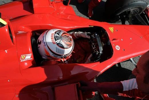 Stock Photo: 1848-27128 Kimi RAEIKKOENEN in the Ferrari F60 during Formula One testing sessions on Circuit de Catalunya near Barcelona, Spain