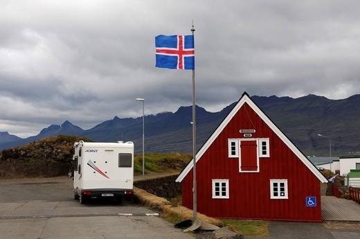 Tourist information of Djupivogur, flag of Iceland, Iceland, Europe : Stock Photo