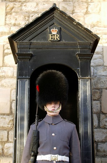 A sentry of the Queen´s Guard wearing a bear skin hat, London, England, Great Britain, Europe : Stock Photo