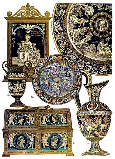 Historic illustration, French ornaments, Limoge Emaille : Stock Photo