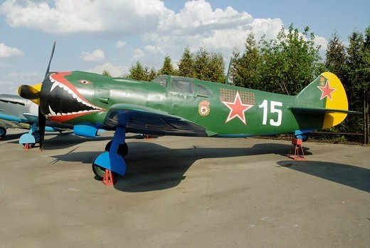 Stock Photo: 1848-271758 Soviet YAK_3 fighter, exhibit of the Moscow Arms Museum on Poklonnaya Hill, Moscow, Russia