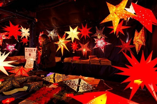 Stand with Christmas stars, red, Christkindlesmarkt, Christmas market, historic city, Nuremberg, Middle Franconia, Franconia, Bavaria, Germany, Europe : Stock Photo
