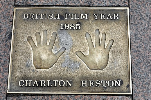 Charlton Heston, palm print, Leicester Square, London, England, United Kingdom, Europe : Stock Photo