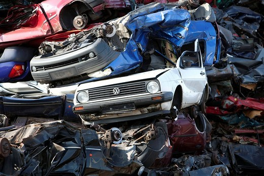 Old cars at a scrap yard : Stock Photo