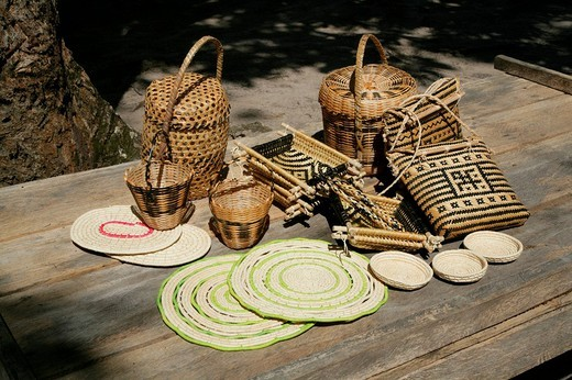 Arawak tribe woven handicrafts, Santa Mission, Guyana, South America : Stock Photo