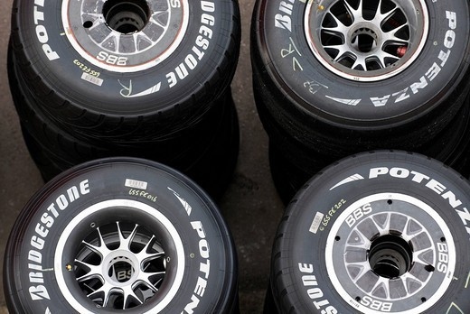 Stock Photo: 1848-272452 Bridgestone Formula 1 race care tires