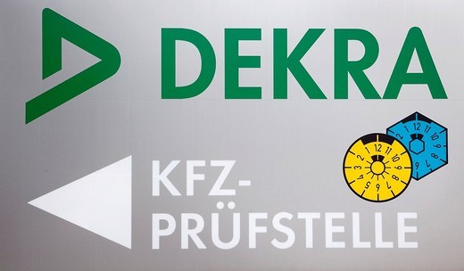 Logo of the car inspecting authority of the Dekra AG, Stuttgart, Baden_Wuerttemberg, Germany, Europe : Stock Photo