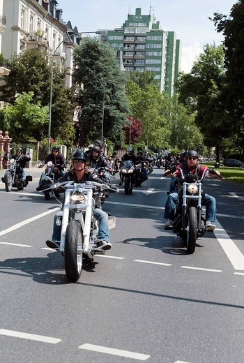 Motorcycle parade, Crime City Run, Frankfurt, Hesse, Germany, Europe : Stock Photo