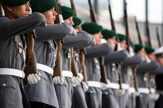 Stock Photo: 1848-27422 Guard of the Bundeswehr German army exercises at the Ceremonial oath of the Bundeswehr German army in front of the Paul Loebe Haus building, Berlin, Germany, Europe