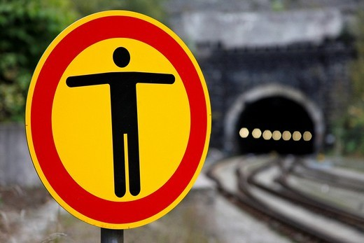 Sign with the warning symbol, No Entry, on Oberhof railway station, Thuringia, Germany, Europe : Stock Photo