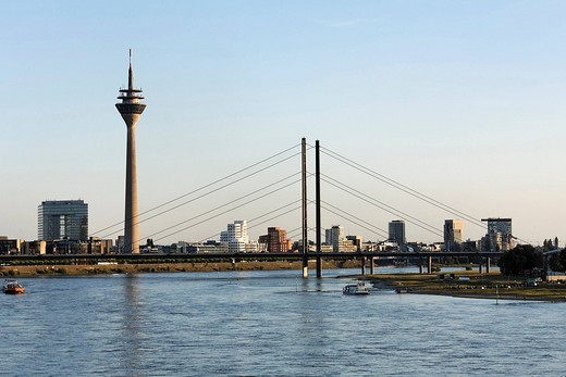 Cityscape with Rhine bridge, view from the north, Duesseldorf, NRW, Germany : Stock Photo
