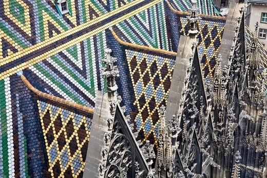 Stock Photo: 1848-27937 Roof of the Stephansdom Vienna Austria