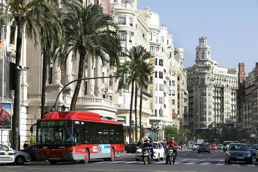 Stock Photo: 1848-28064 ESP, Spain, Valencia : Plaza Ayuntamiento, Avenida Marques De Sotelo, central city hall square