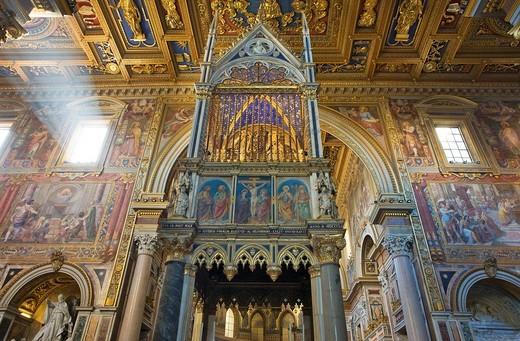 Stock Photo: 1848-28175 Ciborium containing relics of Saints Peter and Paul, Basilica of St John Lateran, Rome, Italy, Europe