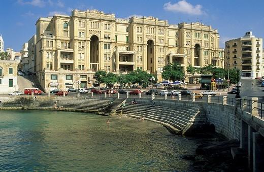 Beautiful old houses in St. Julians harbour, Valetta, Malta : Stock Photo