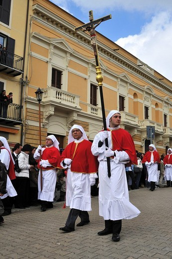 Stock Photo: 1848-28509 Easter, Holy Week Procession, Pietraperzia, Sicily, Italy, Europe