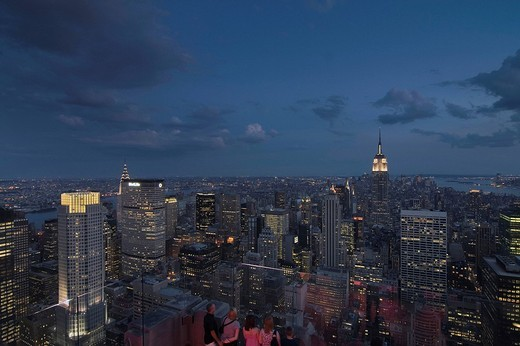 View over Manhattan with the Empire State Building from the Rockefeller Centre, New York, USA : Stock Photo