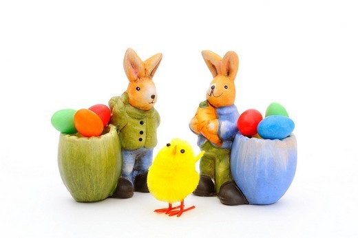 Figurines of easter bunnies, easter decoration : Stock Photo