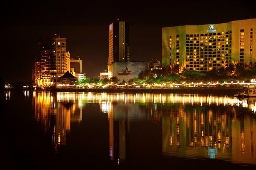 Stock Photo: 1848-29216 Hilton Hotel, Kuching Waterfront and Sarawak River, Kuching, Sarawak, Borneo, Malaysia, Southeast Asia