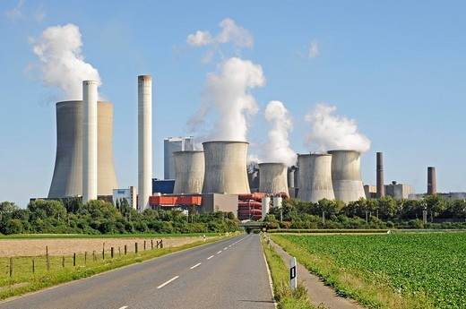 Stock Photo: 1848-29457 RWE lignite_fired power plant, Niederaussem, Bergheim, Rhineland, North Rhine_Westphalia, Germany, Europe